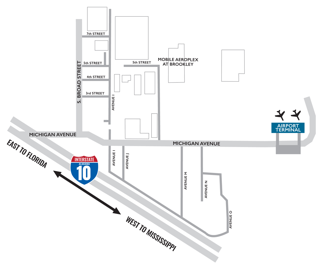Mobile Downtown Airport Map