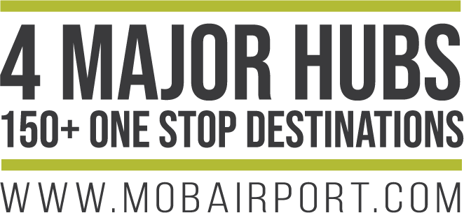 graphic for 4 Major Hubs 150+ One Stop Desitinations www.mobairport.com